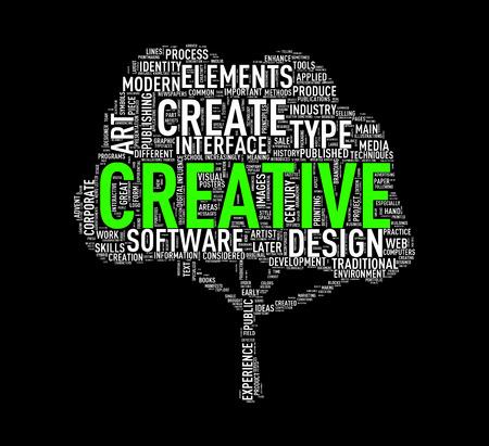Illustration of custom tree shape wordtags wordcloud of creative Stock Illustration - 72674163