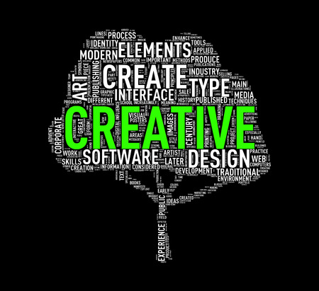 Illustration of custom tree shape wordtags wordcloud of creative