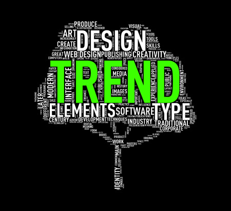 Illustration of custom tree shape wordtags wordcloud of trend