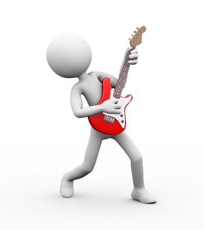 3d rendering of rock guitarist playing electric guitar. White person people man illustration