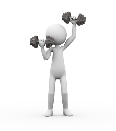 3d rendering of athlete person doing dumbbell exercise in gym.  white person people man
