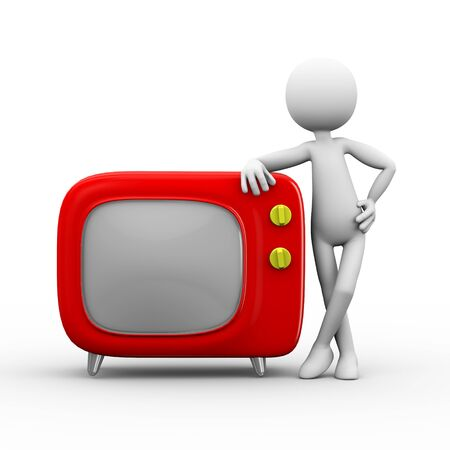 3d rendering of man standing stylish cartoon television tv set. white person people