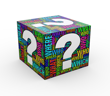 3d rendering of question mark word wordcloud tags cube
