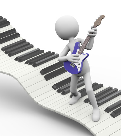 3d rendering of rock guitarist playing electric guitar on floating keyboard. White person people man illustration