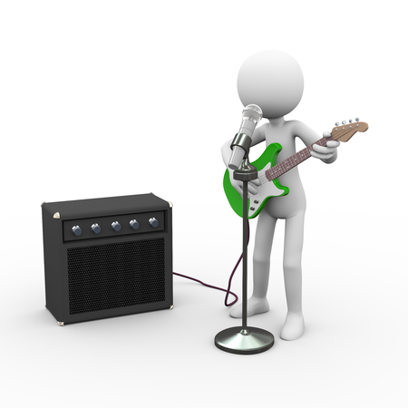 3d rendering of rock guitarist with amp speaker rig singing song in microphone. White person people man illustration