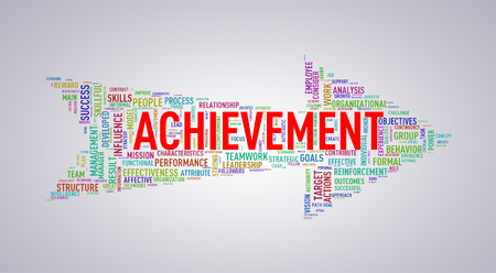 Illustration of arrow shape tags wordcloud of achievement