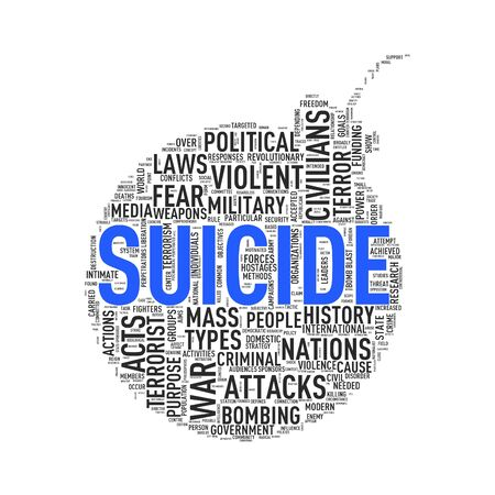 Illustration of bomb shape tags wordcloud of concept suicide Stock Photo