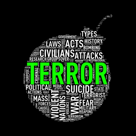 Illustration of bomb shape tags wordcloud of concept terror Stock Photo