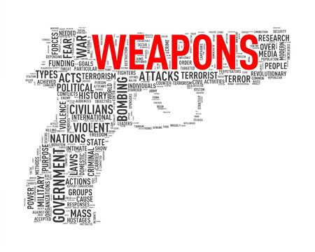 Illustration of pistol shape tags wordcloud of concept weapons