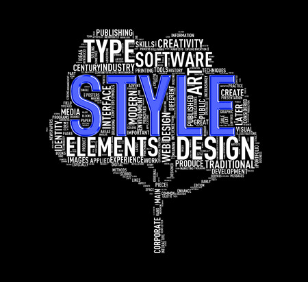 Illustration of custom tree shape wordtags wordcloud of style