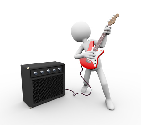 3d rendering of rock guitarist with amp speaker rig playing electric guitar. White person people man illustration. Stock Photo