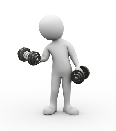 3d rendering of athlete man doing dumbbell exercise in gym.  white person people.