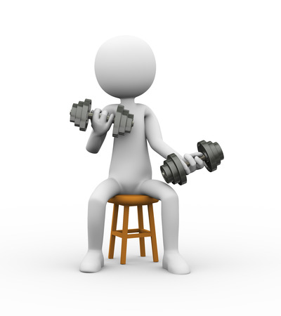 3d rendering of athlete person on stool doing dumbbell exercise.  white person people man. Stock Photo