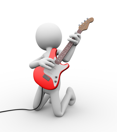 3d rendering of rock guitarist playing electric guitar. White person people man illustration.