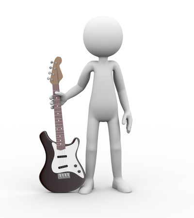lonely person: 3d rendering of rock guitarist standing with electric guitar. White person people man illustration