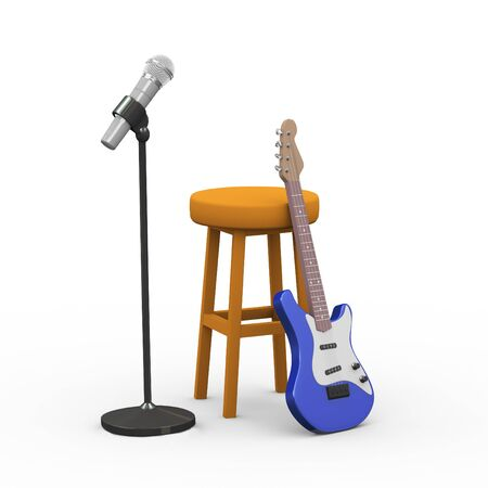 3d rendering of electric guitar, wooden stool and microphone with stand Stock Photo