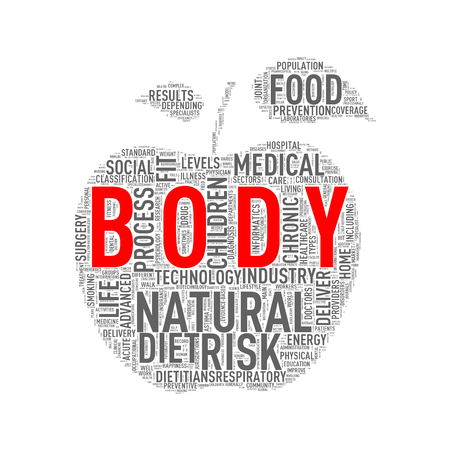 Illustration of healthy concept apple shape tags wordcloud of body