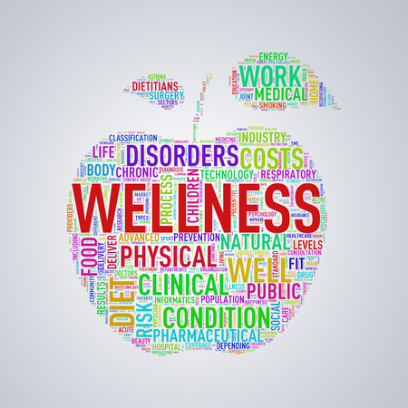 Illustration of healthy concept apple shape tags wordcloud of wellness Stock Photo