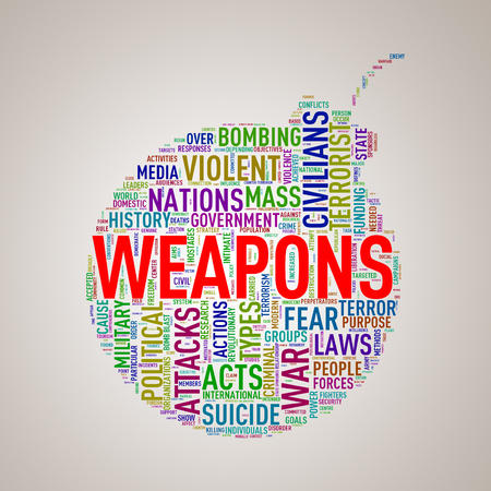 Illustration of bomb shape tags wordcloud of concept weapons