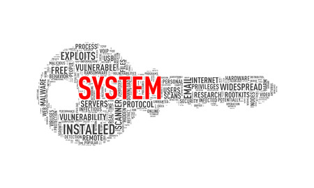 Illustration of key shape wordtags wordcloud of system Stock Photo