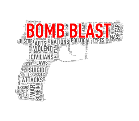 Illustration of pistol shape tags wordcloud of concept bomb blast