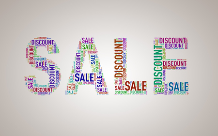 Illustration of special sale shape discount wordcloud wordtag Stock Photo