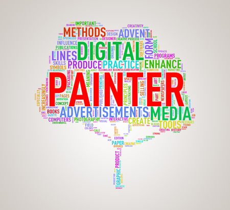 Illustration of custom tree shape wordtags wordcloud of painter Stock Photo