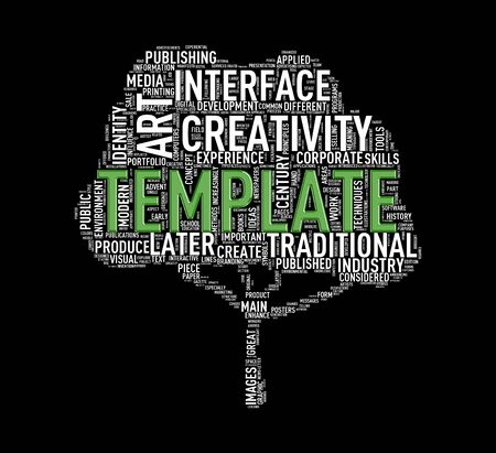 Illustration of custom tree shape wordtags wordcloud of template