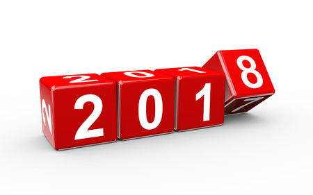 3d rendering of year 20176 cubes changing to happy new 2018 Stock Photo