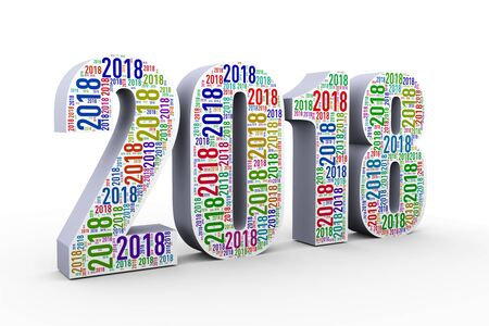 Illustration of happy new year 2018 custom shape wordcloud word tags design created with only 2018 Stock Photo