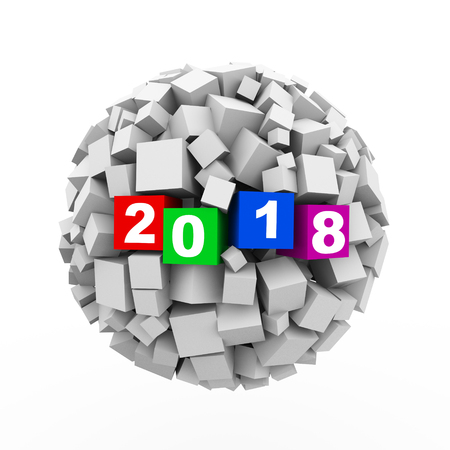 3d rendering of abstract cubes ball sphere of happy new 2018