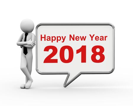3d rendering of businessman standing with new year 2018 speech bubble. 3d people man character Stock Photo