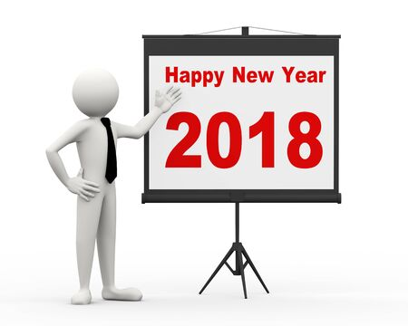 3d rendering of business person with tripod projector screen presenting new year 2018. 3d white people man character