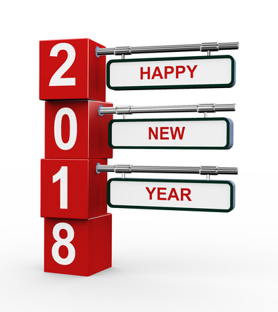 3d rendering of modern style signpost of happy new year 2018 Stock Photo - 74325147