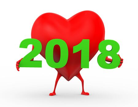 3d rendering of heart character is holding happy new year 2018