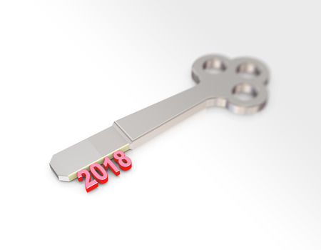 3d rendering of chrome key with new year 2018