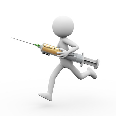 3d rendering of man holding and running with syringe. White person people illustration Stock Photo
