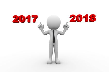 3d rendering of man pointing to year 2017 and 2018. 3d white person people man. Stock Photo