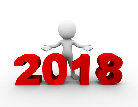 3d rendering of man with open arm gesture pose standing with new year 2018 . 3d white person people man