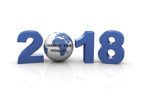 3d rendering  of year 2018 and globe with text change the world Stock Photo