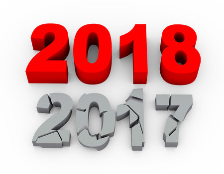 3d rendering  of year 2018 over cracked year 2017 Stock Photo