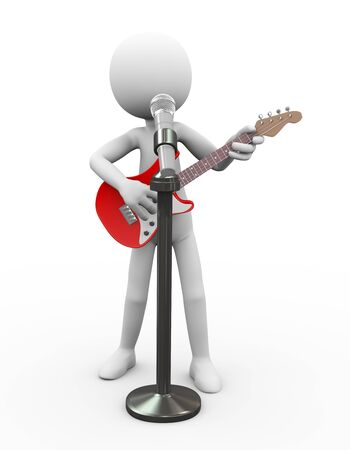 3d rendering of rock guitarist singing song in microphone song on microphone. White person people man illustration
