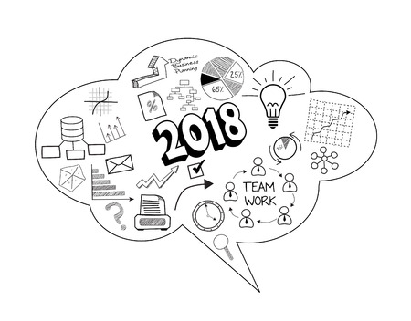 Illustration of business bubble speech of new year 2018