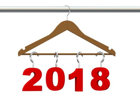 coathanger: 3d rendering of new year 2018 handing on wooden cloth hanger