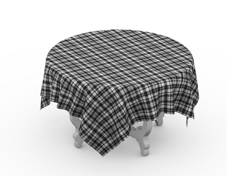 3d rendering of round table with tartan checked fabric cloth Stock Photo