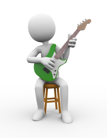 3d rendering of rock guitarist sitting on stool playing electric guitar. White person people man illustration. Stock Photo