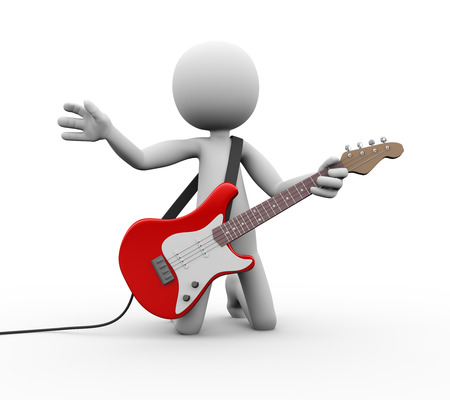 acoustics: 3d rendering of rock guitarist playing electric guitar. White person people man illustration