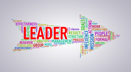 Illustration of arrow shape tags wordcloud of leader