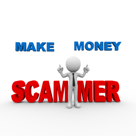 3d rendering of man scam alert online make money scammer person people man