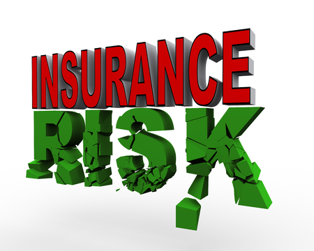 3d render of word insurance over cracked text risk. Concept of insurance Stock Photo